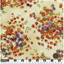Quilting Fabric Purple Orange Daisy Like Flowers Fat Quarters 100% Cotton