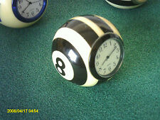 New! Handmade Billiard Ball Mini Desk Clock Referee 8-Ball  Black/Silver/Gold -
