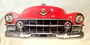 "25"" HUGE 1950s Cadillac red Chaddy car Grill Front End USA STEEL Metal Sign '50s"