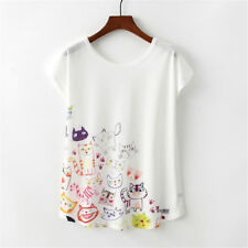 Women Casual Floral Animal Print Batwing T-Shirts Loose Crew Tops Blouse Summer
