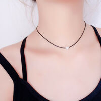 90's Black Leather Choker Love Heart Pendant Necklace Gothic Grunge Retro Chain