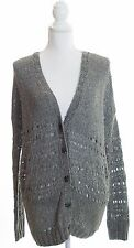 VINCE Hand Knit Gray Button Up Cardigan Sweater Size L Large