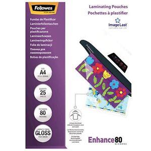 25 FELLOWES Laminierfolien A4 2x80mic(160)  glänzend CRC53962 Enhance80