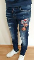 NEW DSQUARED2 COOL SLIM FIT WASHED ELASTIC MEN'S BLUE JEANS