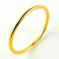 Hot New Arrival Pure 999 24K Yellow Gold Band Women's Smooth Ring US 4-9