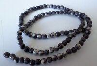 1 Strang Ocean White Jade Grau-weiß  Perlen 4mm zur Schmuckherstellung