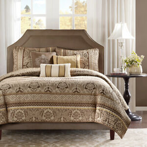 BEAUTIFUL CHIC ELEGANT LUXURY RICH BROWN TAUPE BRONZE HOTEL GOLD SOFT QUILT SET