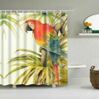 Color Parrot Polyester Waterproof Bathroom Fabric Shower Curtain 12 Hook