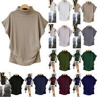 Women Plus Size Turtleneck Short Sleeve Cotton Solid Casual Blouse Top T Shirt