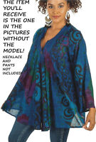 Nw SACRED THREADS blue overdye thin cotton lagenlook pleat TOP TUNIC O/S fits 1X