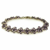 TRENDY CUTE HAWAII PLUMERIA FLOWER CHAIN LINK BRACELET RHODIUM OR GOLD PLATED