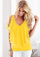 UK Womens Off Shoulder V Neck Chiffon T-Shirt Ladies Summer Casual Tops Blouse