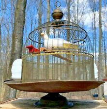 Antique Vtg Hendryx Brass Dome & Stand Bird Cage & Milk Glass Perches & Feeders