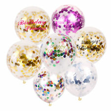 "12"" 5X Clear Confetti Filled Balloons Helium Luxury Birthday Party Wedding Decor"
