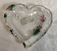 Mikasa Festive Poinsettia Glass Heart Dish, Made In Germany 3D
