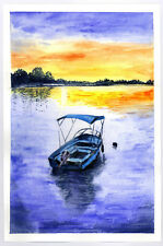 """Original Watercolor Painting 9 x 6"""" Boat and Sunset Not ACEO"""