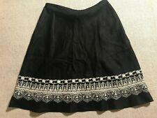 NWOT Rafaella Women's Embroidered Embellished Petite Linen Skirt Sz 12P #C1