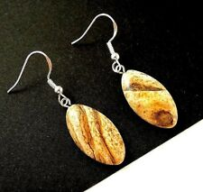 Picture Jasper Natural Gemstone Earrings with 925 Sterling Silver Hooks #393