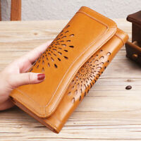 Genuine Leather Women's Long Clutch Wallet Carved Hollow ID Card Holder Vintage