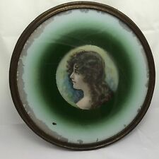 VICTORIAN ERA FLUE COVER WITH PRINT OF A WOMAN MATTED ON GREEN PAPER 8""