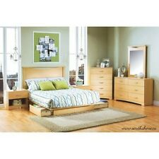 4 Pc Bedroom Furniture Set Queen Storage Platform Bed Nightstand Dresser Maple