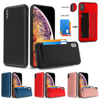 For iPhone Xs Max XR X Wallet Hybrid Case 2 Cards Holder Rubber Protective Cover