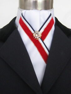 ERA Dillon  Gathered White Stock Tie Red Velvet Trim Navy Piping & Gold Pin -