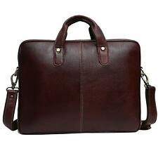 Brown Leather 15.6 inch Laptop Messenger Bag Padded Laptop Compartment OfficeBag