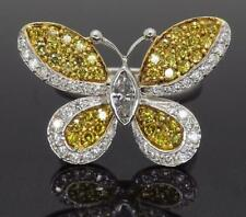 925 Sterling Silver 0.50ct Marquise & Yellow and White Butterfly Diamond Ring