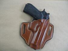Taurus PT 92, 99, 100, 101 OWB Leather 2 Slot Molded Pancake Belt Holster TAN RH