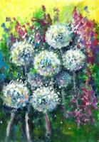 ACEO abstract Dandelions flowers original painting acrylic art card sign