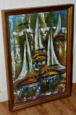 C1950'S MID CENTURY Painting ABSTRACT SAILBOATS Signed WELL EXECUTED! Who Is It?