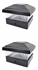 "2 Black 5""X5"" Solar Powered Bright Led Post Deck Cap Square Fence Light Pl245B"