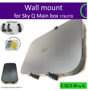 Sky Q Main box 1TB/2TB wall mounting bracket holder. Black. Made in the UK by us