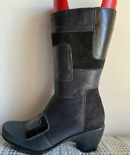 NAOT PARADISE BLACK SMOOTH & SUEDE LEATHER PATCHWORK MID-CALF BOOTS US 7B /EU 38