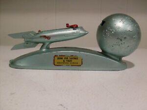 Rare 1960's Strato Mechanical Bank Duro Mold Mfg. Rocket Ship & Key-Instructions