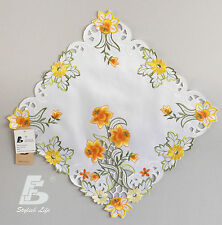 2x Square Doilies, Embroidered  Orange Flowers, 40cm (16in) FFDWY52