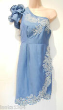 Monsoon Blue One Shoulder Silk Blend Straight Party Dress (NEW) size 16 £160.00