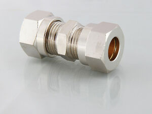 Compression Straight Connectors Pipe Repair,Tube to Tube Joiners Brass Nickel NP