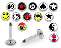 New Logo Labret Tragus Bar 1.2mm x 6mm 8mm 10mm Various Cool and Rude Designs