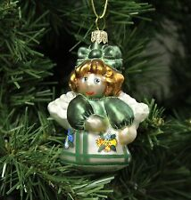 Blown Glass Pansy Applique Angel Christmas Ornament