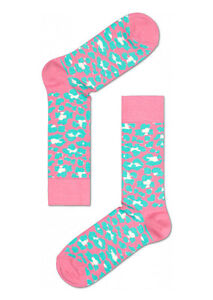 Happy Socks Unisex Combed Cotton Crew Animal in Pink/Green