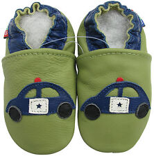 carozoo police car green 2-3y soft sole leather toddler shoes