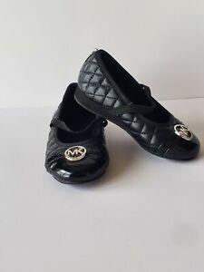 Michael Kors Black MK Ballet Slip On Shoes Toddler Girls Size 9 Lil Mallory