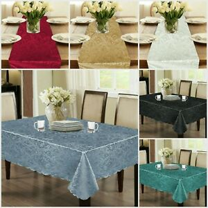 Jacquard Table Cover Runner Floral Printed Cloth Napkins Wipe Clean Tableware