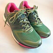 Adidas SUPERNOVA GLIDE BOOST WOMENS 8.5, 40 2/3 Olive Green Pink $130