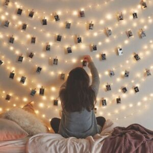 20/50 LED Hanging Picture Photo Peg Clip Fairy String Light Party Bedroom Decor