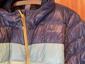 🔰 Quechua Glanznylon Daunenjacke, Gr. L, Skijacke mit Kapuze