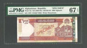 AFGHANISTAN SPECIMEN Banknote P-72s ,ND(2002-04),100 Afghanis, PMG 67 EPQ