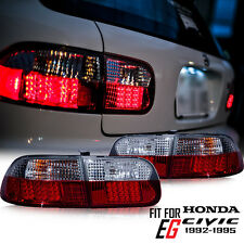 CHROME REAR TAIL LIGHT LAMP+REAR REFLECTOR SMOKE-RED LEN HONDA CIVIC 92 93 94 95